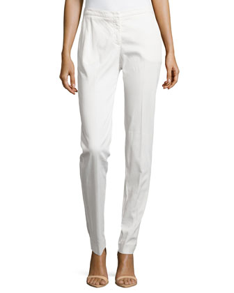 Straight-Leg Twill Pants, White