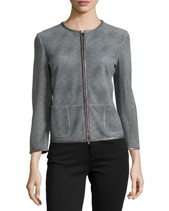 Lambskin Leather Perforated Jacket