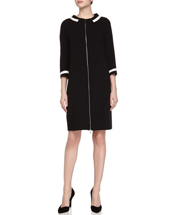 3/4-Sleeve Front-Zip Tunic Dress