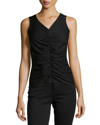 V-Neck Tank with Front Ruching