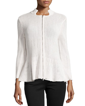 Peplum Knit Zip Jacket