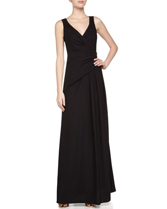 Sleeveless Draped-Neck Gown