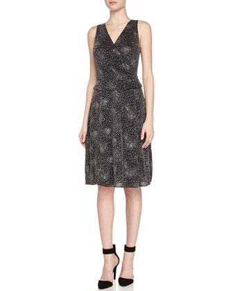 Sleeveless Peplum Glitter Jersey Dress