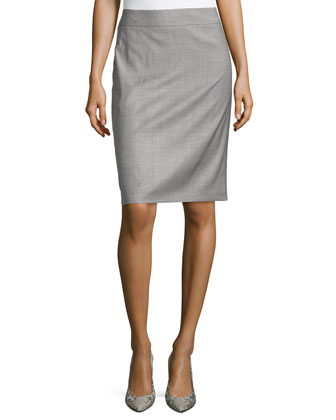 Houndstooth Crepe Pencil Skirt