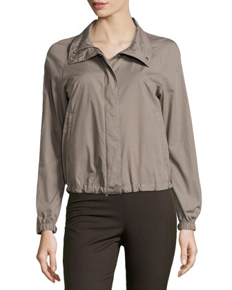 Stand Collar Zip/Snap Jacket, Chord