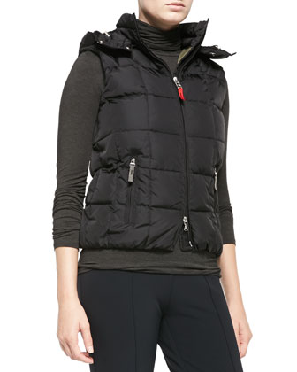 Cali Puffer Vest W/ Removable Hood, Black