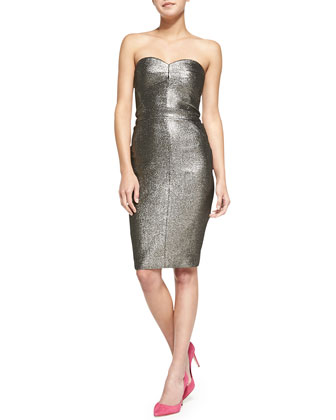 Volare Strapless Metallic Pencil Dress