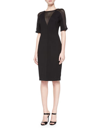 Amabella Mesh-Detail Sheath Dress