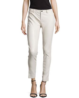 Skinny Lambskin Pants, Ivory