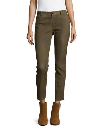 Leather Straight-Leg Pants, Olive