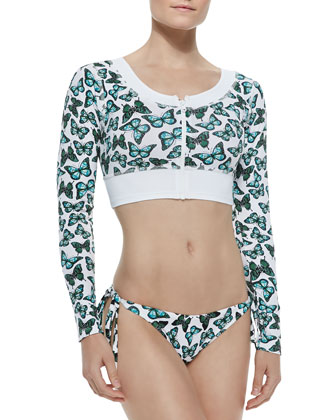 Skull Butterfly-Print Cropped Rashguard