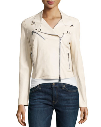 Asymmetric Leather Cropped Jacket, Ivory