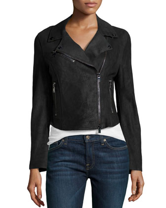 Asymmetric Leather Cropped Jacket, Black