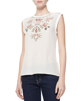 Venise Jewel Printed Sleeveless Top