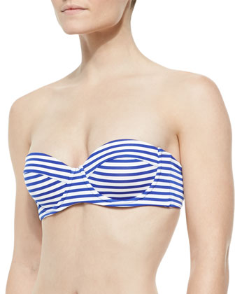 Taylor Striped Swim Top & Gidget Striped Ruched-Back Swim Bottom