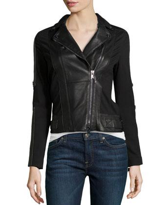 Mixed-Media Leather Jacket