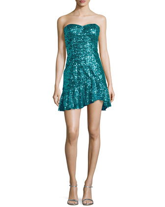 Strapless Sequined Flutter-Hem Dress