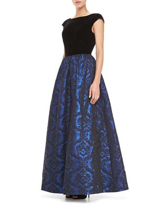 Short-Sleeve Combo Jacquard-Skirt Ball Gown, Black/Cobalt