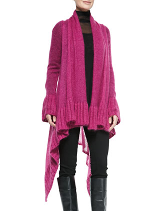 Open-Front Draped Mohair Cardigan