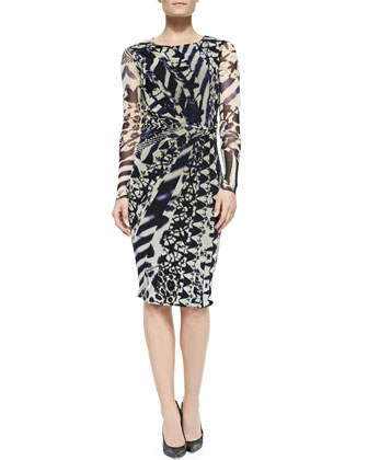 Long-Sleeve Printed Draped Dress