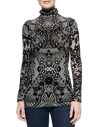 Lace-Print Turtleneck Top