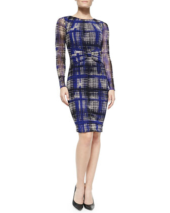 Long-Sleeve Draped Plaid Dress
