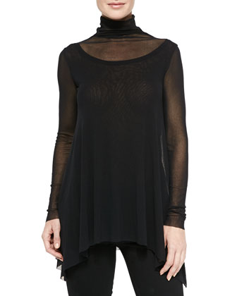 Long-Sleeve Tulle Turtleneck Top
