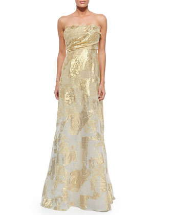 Strapless Ombre Jacquard Gown
