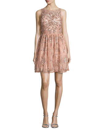 Lace Beaded Party Dress, Ash Rose
