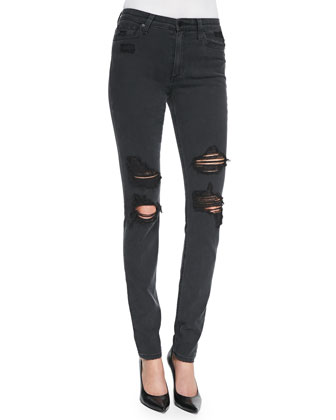 Rhea Distressed Skinny Jeans, Black
