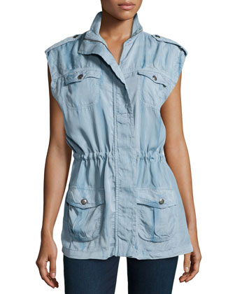 Sleeveless Drawstring Vest, Blue