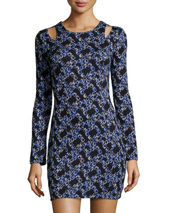 Printed Jersey Long-Sleeve Dress, Blue