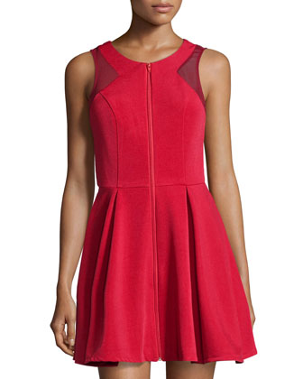 Contrast Mesh Fit-And-Flare Dress, Red