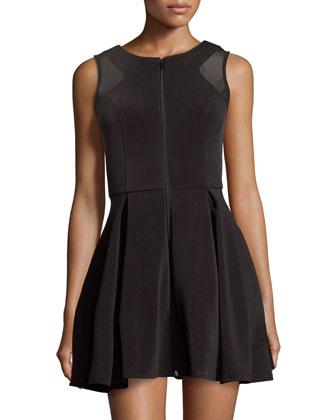 Mesh-inset Fit-&-Flare Dress, Black