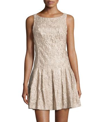 Foiled Floral-Lace Drop-Waist Dress, Khaki