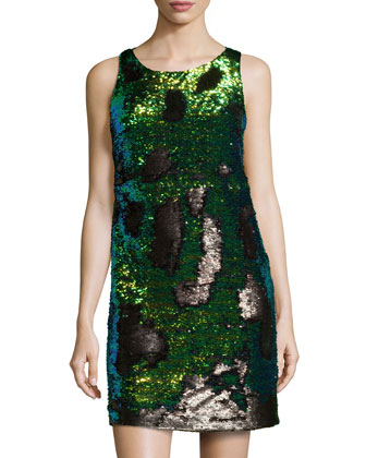 Sleeveless Sequined Cocktail Dress, Blue