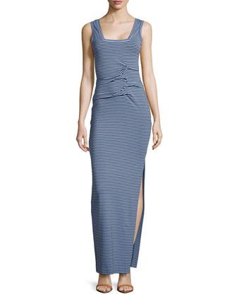 Sleeveless Striped Tidal Wave Dress, Blue/Black