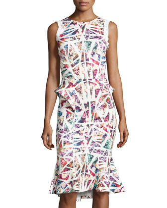 Sleeveless Abstract/Floral-Print Dress, Ivory/Multi