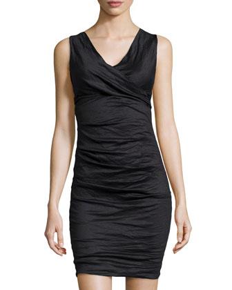Sleeveless V-Neck Tucked Dress, Black