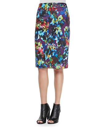 Fresco Floral-Print Pencil Skirt