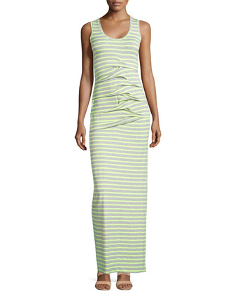 Sleeveless Tidal Wave Maxi Dress, Yellow/Gray