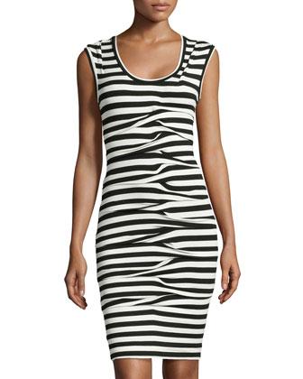 Sleeveless Striped Dress, Black/White