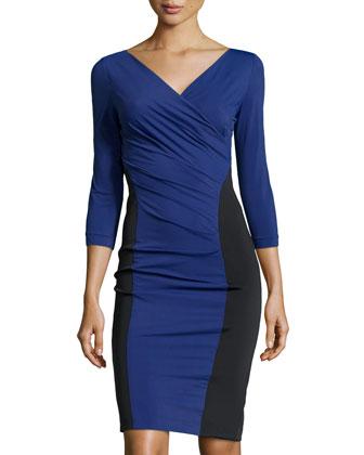 Wrap-Style Dress w/Side Panels, Blue/Black