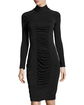 Long-Sleeve Turtleneck Dress, Black