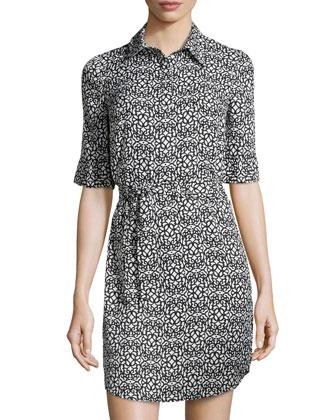 Printed Short-Sleeve Shirtdress, Black Multi
