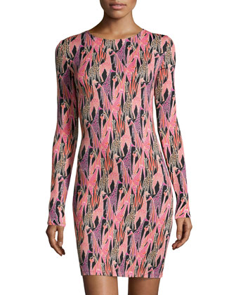 Morgan Giraffe-Print Jersey Dress, Pastel