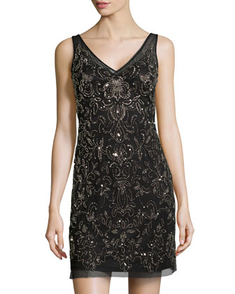 Floral-Beaded Mesh Cocktail Dress, Black