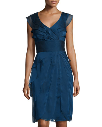 Iridescent Ruffle-Tiered Cocktail Dress, Navy