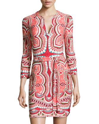 Printed Tie-Waist Jersey Dress, Coral/Henna Multi