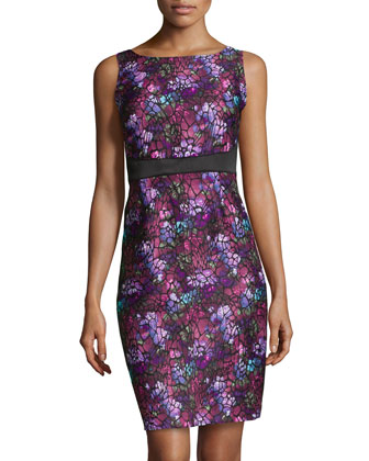 Abstract Brocade Fitted Dress, Black Multi